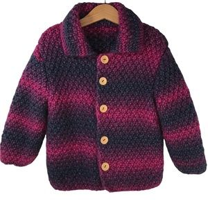 Handknit Handmade Ombre Button Cardigan Sweater Chunky